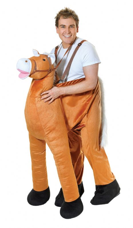 Adults Horse Step In Costume Equestrian Farm Ranch Animal Fancy Dress Outfit